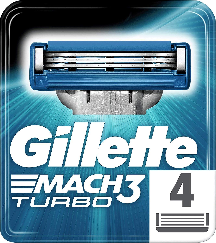 Gillette Mach 3 Turbo Maquinilla de Afeitar, 4 Recambios, con Hojas más Fuertes que el Acero