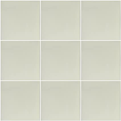 Off White Mexican Ceramic Handmade Solid 4x4 Tiles 9 Pieces