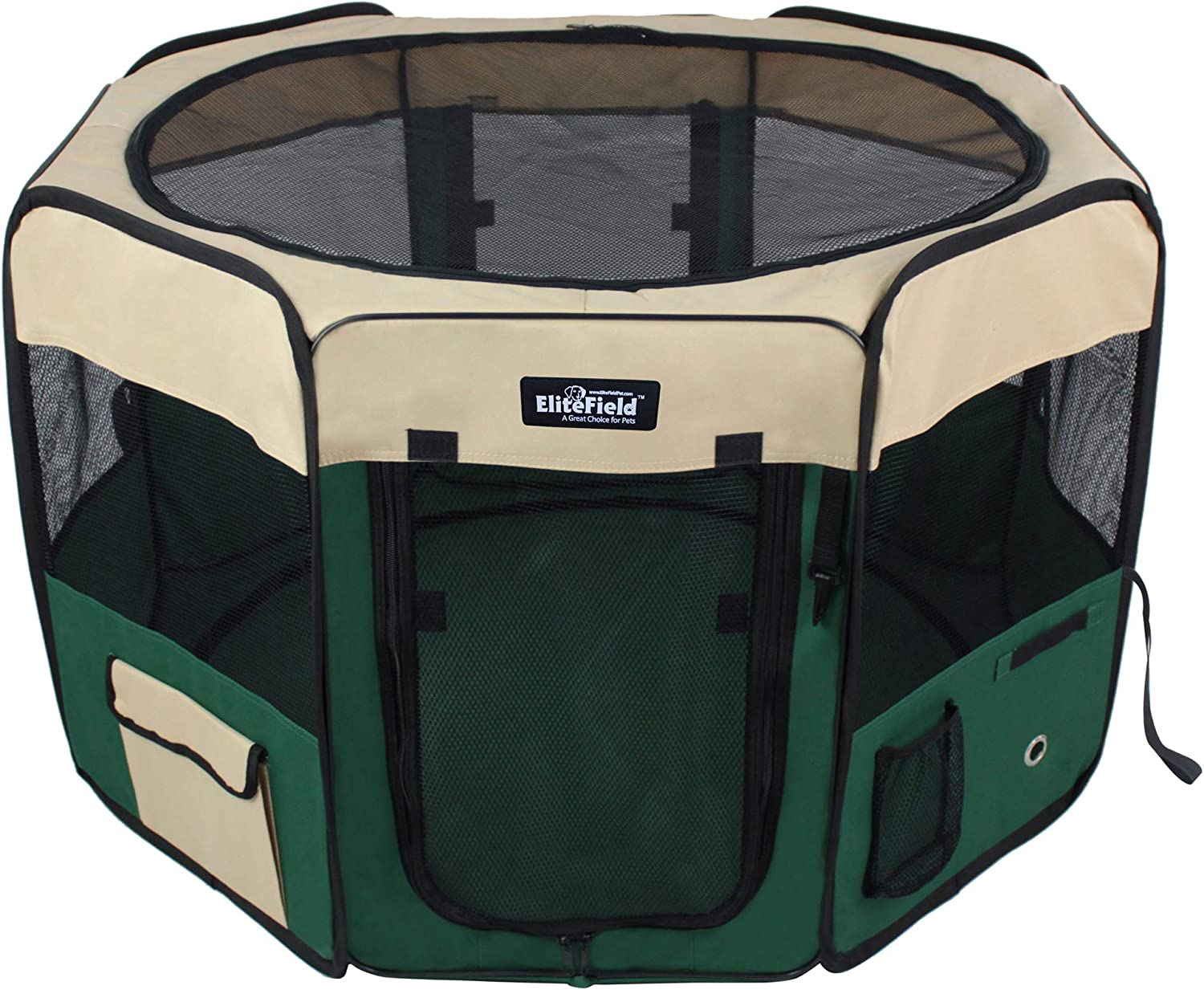 EliteField 2-Door Soft Pet Playpen Multiple Sizes and Colors Available for Dogs Exercise Pen Cats and Other Pets