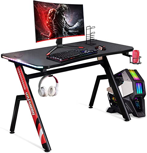 Gaming Desk HOMEFUN 43.3 Inch Home Office R Shaped PC Gaming Desk