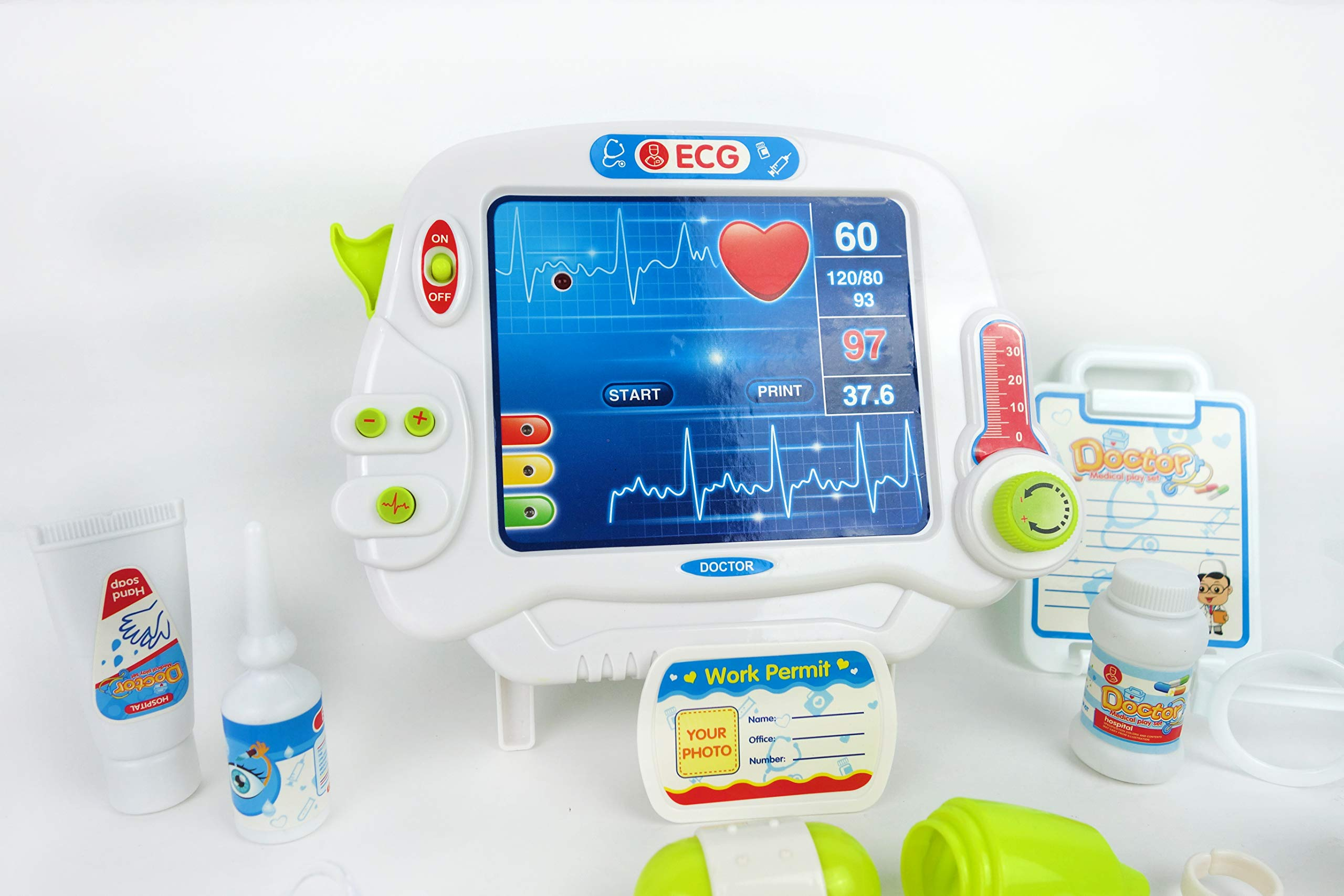 NBD Corp Kids Toy Portable Doctor Set, 17 Piece Set with Play Screen and Play Doctor Instruments by NBD Corp (Image #8)