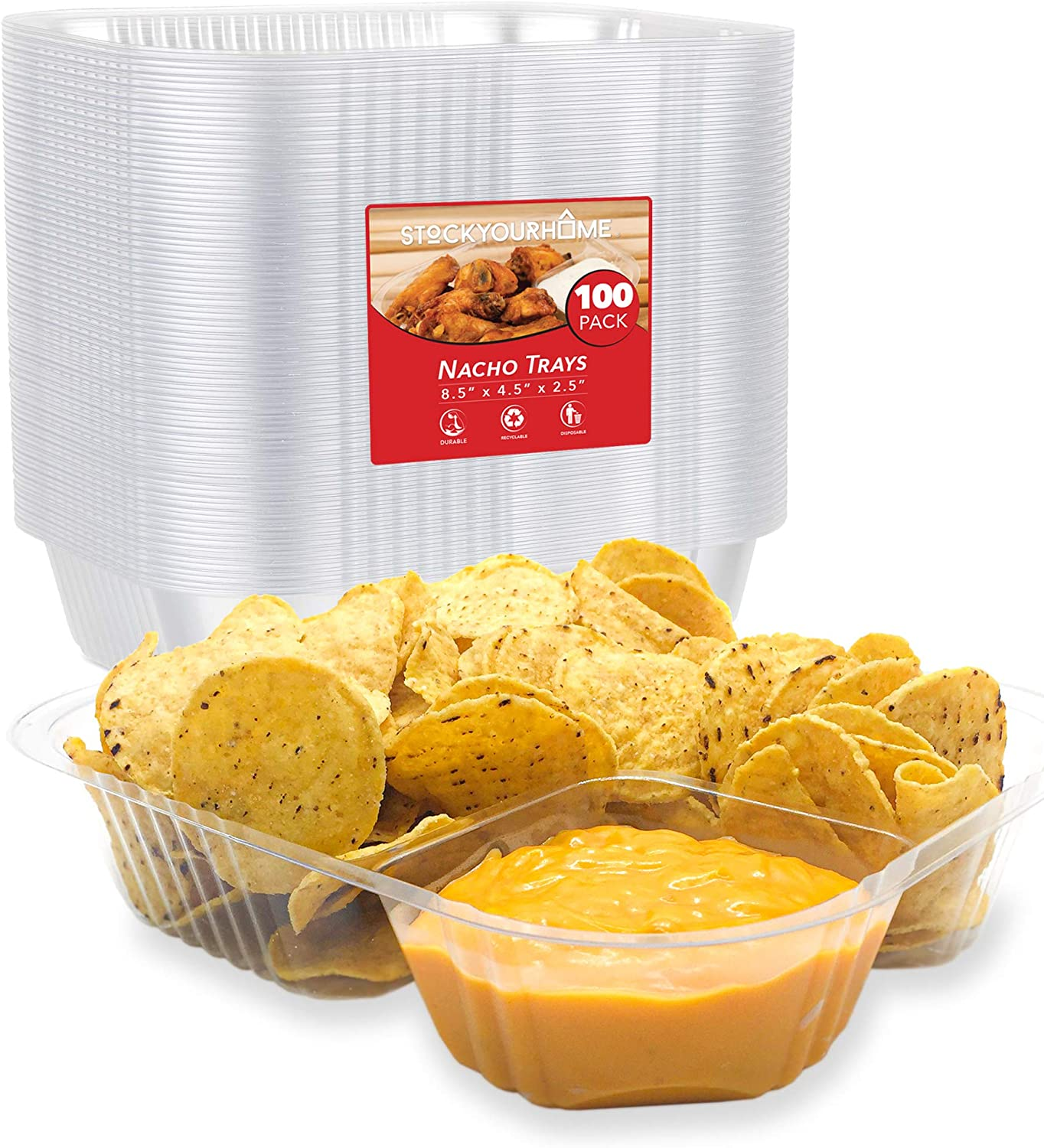 Nacho Trays (100 Pack) Disposable 2 Compartment Food Tray - 8 x 6 Nacho Tray - Clear Plastic Chip and Dip Holder for Movie Theater Concession Stand, Carnivals, Fairs, Festivals, Kids Parties, 22 Ounce