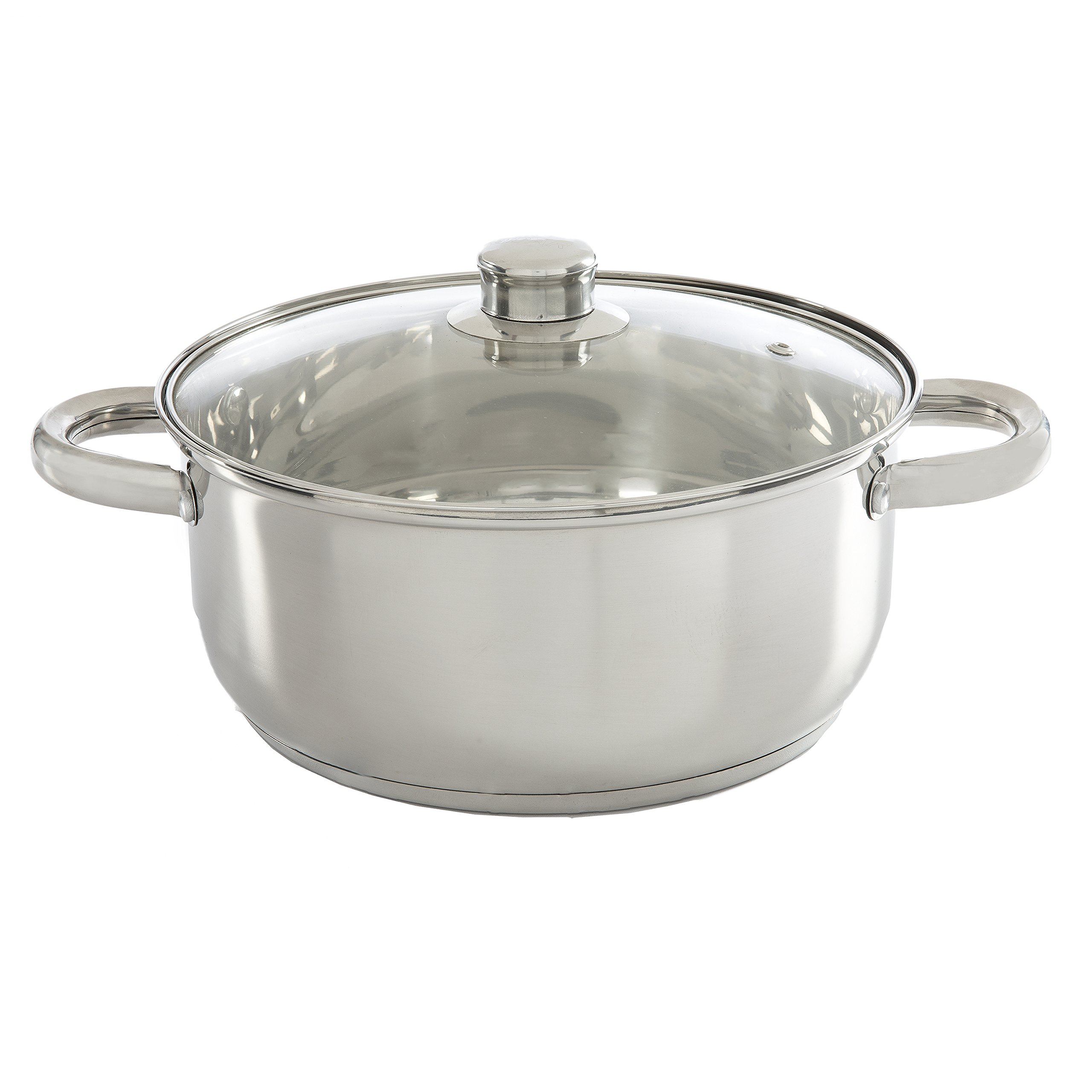 Ecolution Pure Intentions Dutch Oven 5 Quart - Vented Tempered Glass Lid - Stainless Steel
