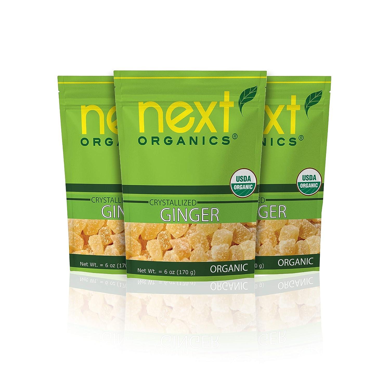 Next Organics Crystallized Ginger Cubes, 6 oz Bag (Pack of 3)