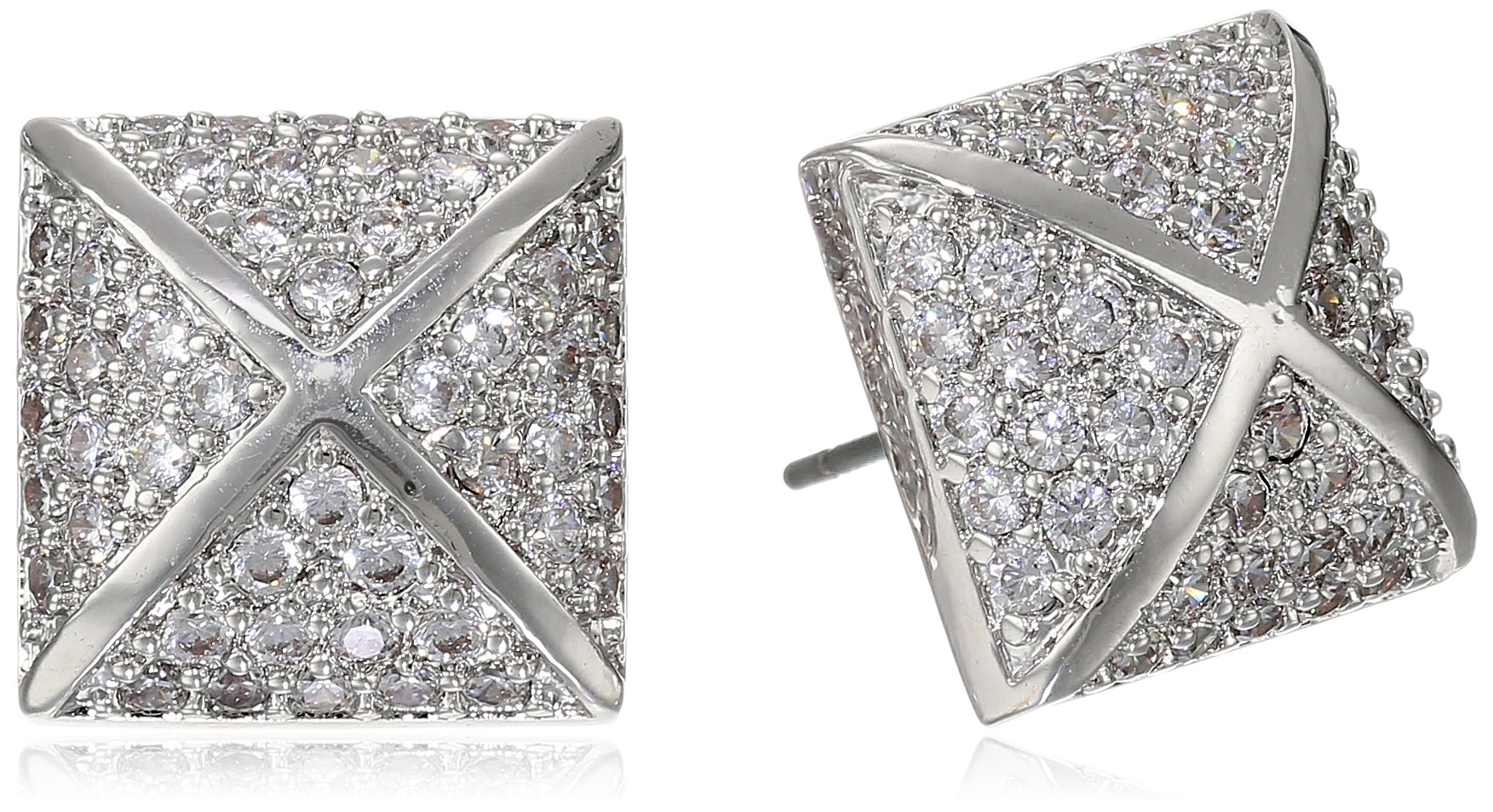 CZ by Kenneth Jay Lane 2cttw Pave Cubic Zirconia Silver Pyramid Post Stud Earrings, 2 CTTW