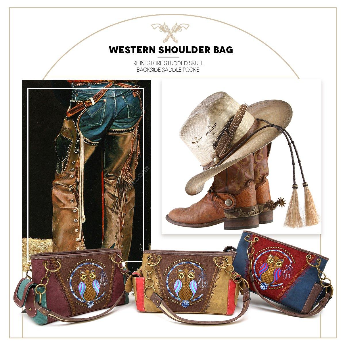 6703b568c75 Amazon.com  Western Owl Handbag Purses Tote Bag Shoulder Bag Rhinestone and  Studded with Back Side Concealed Saddle Pocket for Cowgirl (light camel)   Shoes
