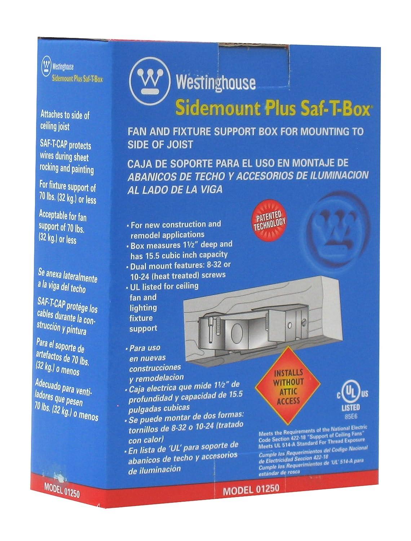 Westinghouse Lighting 0125000 Sidemount Plus Fan Box, 1-1/2 Inch ...