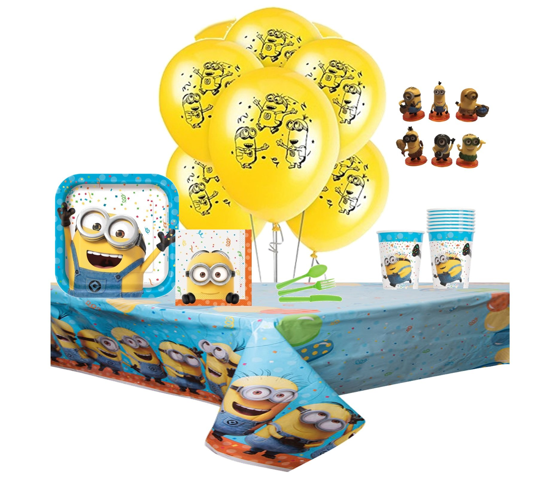 Despicable Me 3 Complete Birthday Party Pack for 8 Includes 9'' Dinner Plates, Lunch Napkins, Cups, Balloons, Tablecover & Cutlery with Bonus 1pc Minion Action Mini Figure