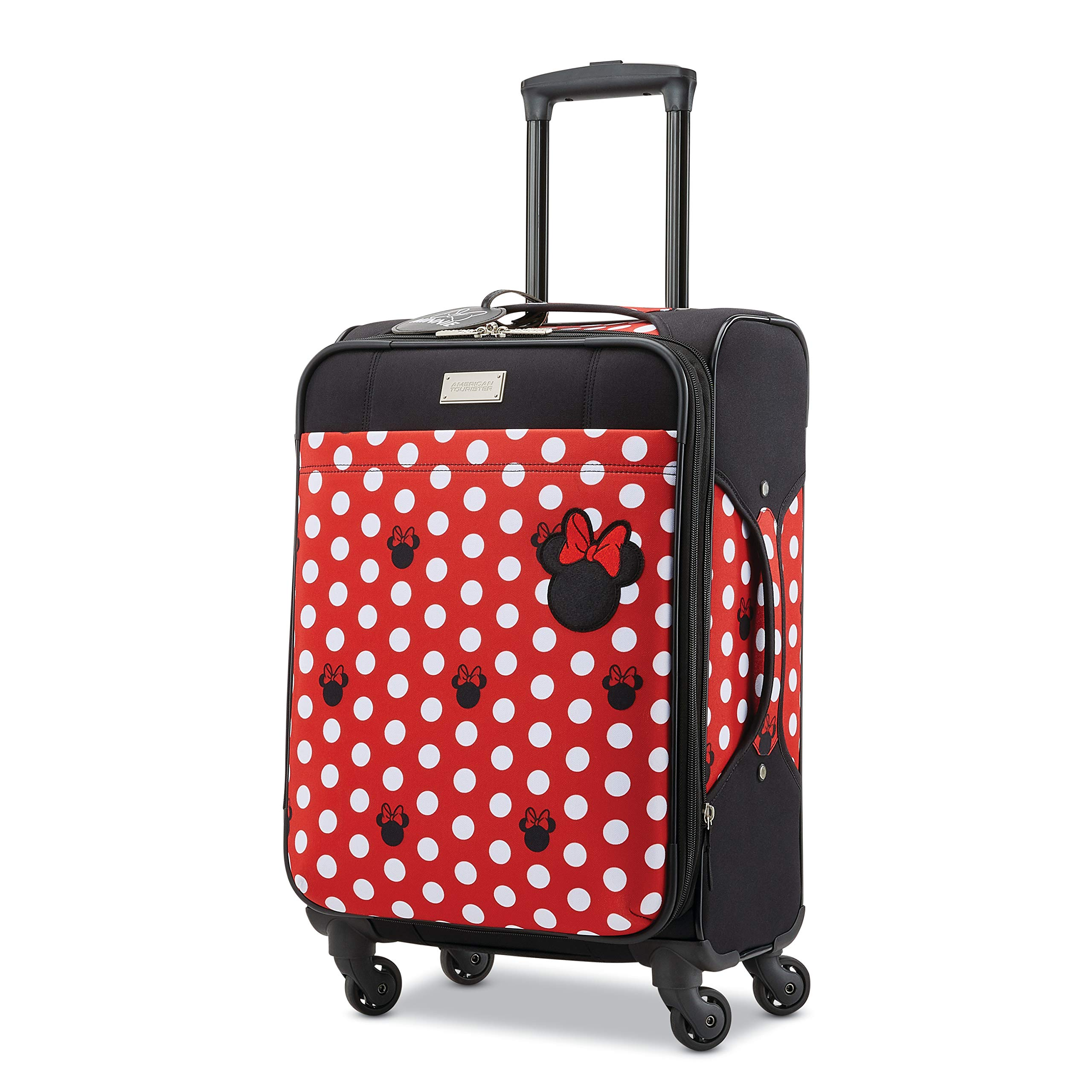 American Tourister Disney Minnie Mouse Dots Softside Carry On Luggage with Spinner Wheels, 21 Inch