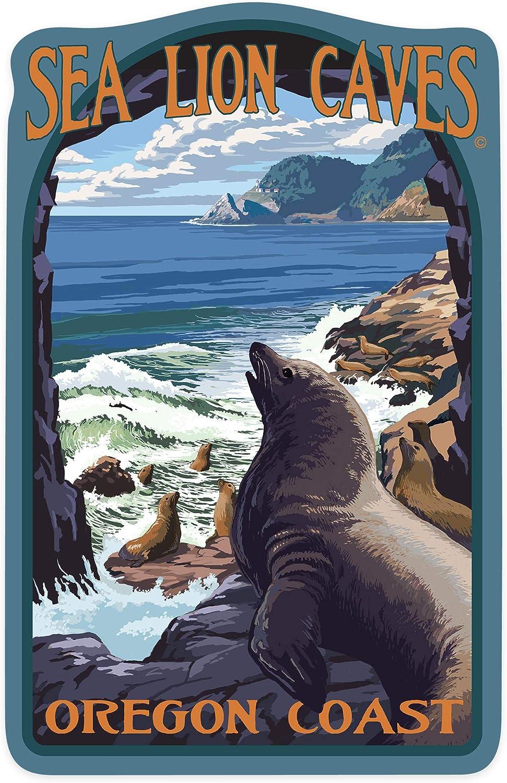 Lantern Press Oregon Coast - Sea Lion Caves Lookout and Heceta Head Lighthouse - Contour 100909 (Vinyl Die-Cut Sticker, Indoor/Outdoor, Large)
