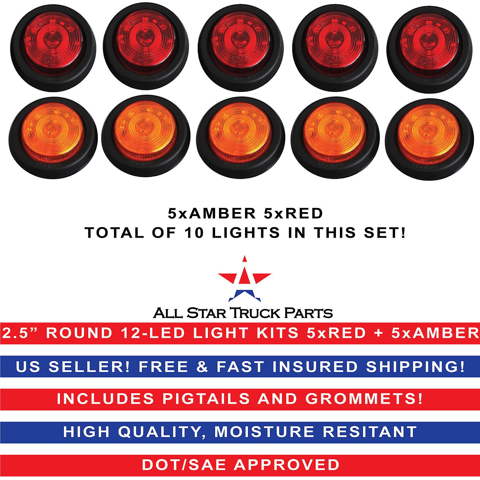 2.5'' Round 12 LED Light Truck Trailer Side Marker Clearance Kit 5 Red & 5 Amber