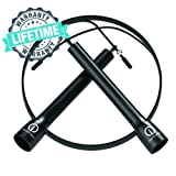 Skipping Rope By ignitionfit - The Ultimate High Speed Jump Rope for Boxing, Crossfit, MMA + Fitness Training for both Men and Women - Adjustable10ft Tangle Free Cable - 100% Lifetime Warranty Too!