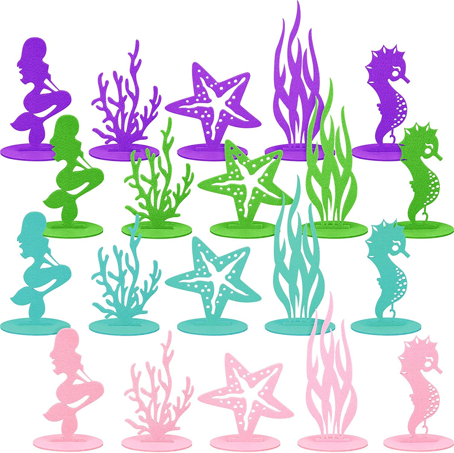 20 Pieces Mermaid Ocean Party Decoration Mermaid Party DIY Felt Seahorse Starfish Seaweed Coral Table Centerpiece Under The Sea Ornament for Girls Mermaid Theme Baby Shower Birthday Decor Supplies