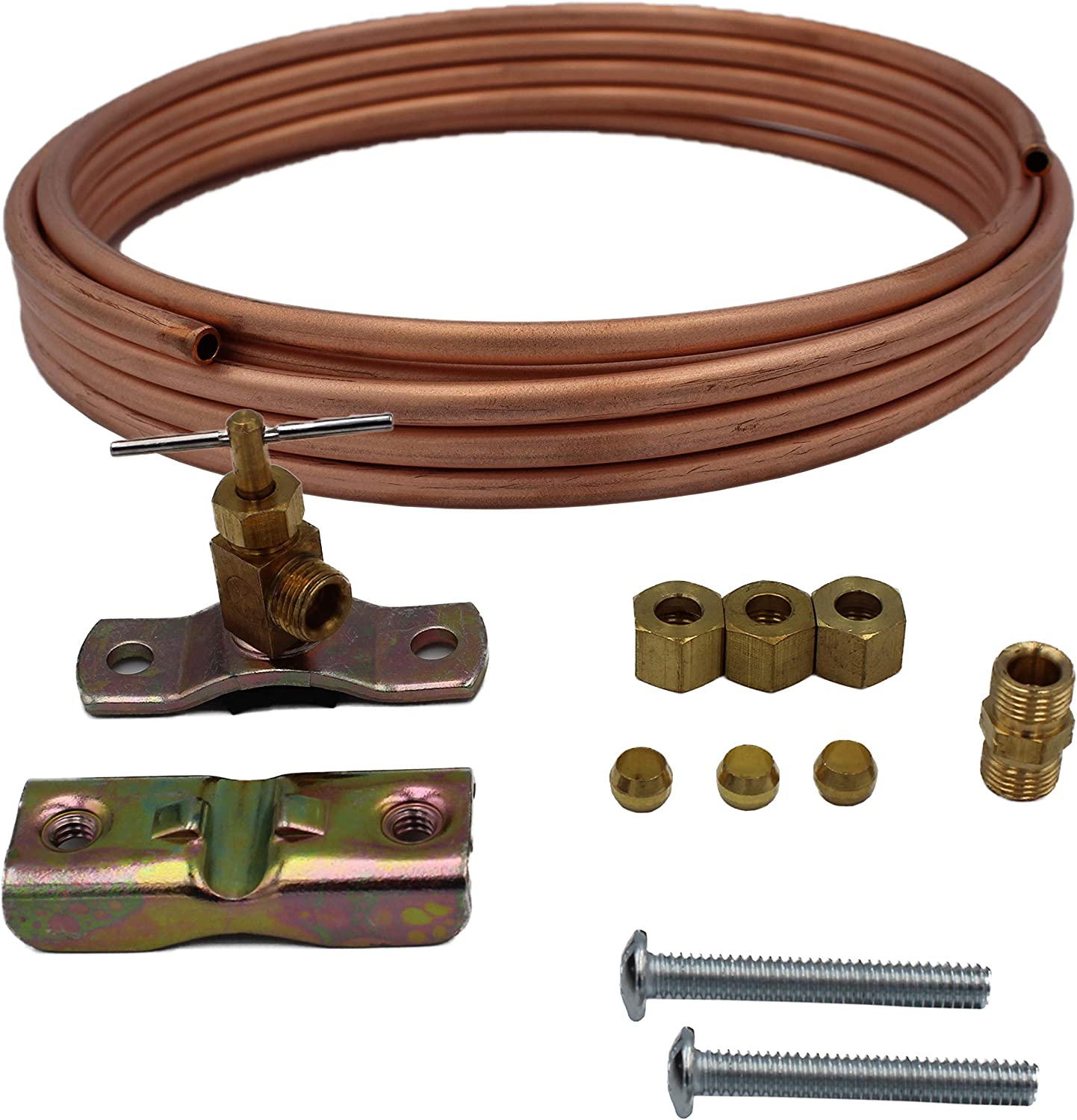 Supplying Demand 8003RP C15 Copper Line Tubing Kit For Icemaker Ice Machine Residential Water Or Humidifier Installation Hook Up - Self Tapping Valve Included (15 Foot)
