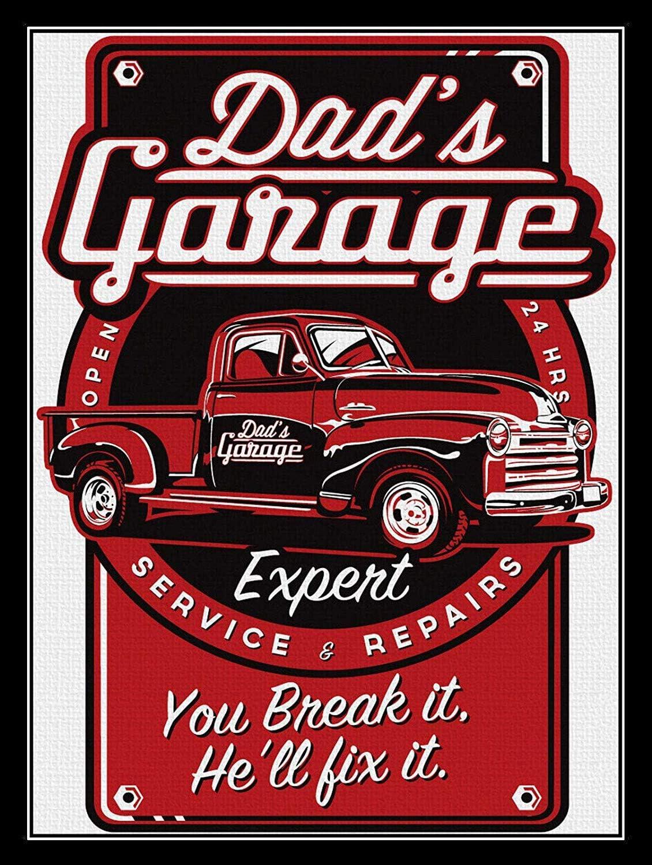 Carlena Dads Garage Plaque m/étallique Vintage en m/étal pour Magasin d/écoration Murale 20,3 x 30,5 cm Bar