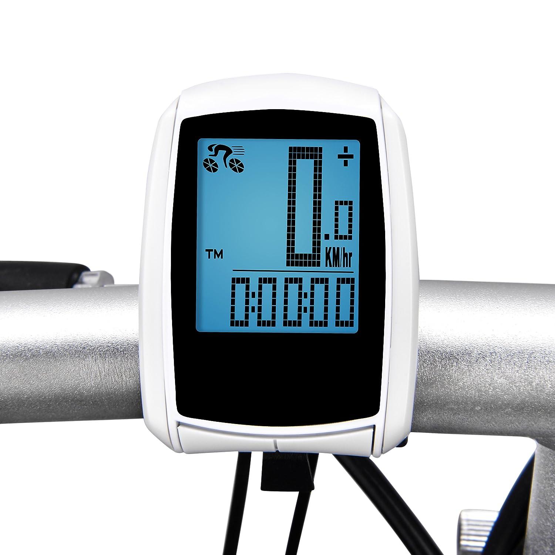 Sensor de Movimiento de Bicicleta Inalámbrico, Elinker Computadora con Retroiluminación Grande LCD GPS Bicicleta Impermeable Cuentakilómetros Ciclocomputador Velocímetro para el Seguimiento de la Velocidad y la Distancia de Montar - Despertador Automático