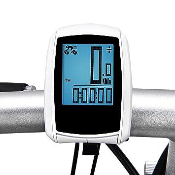 Inalámbrico ordenador de bicicleta, Elinker ciclo ordenador con gran pantalla LCD retroiluminación y sensor de movimiento para el seguimiento de ...