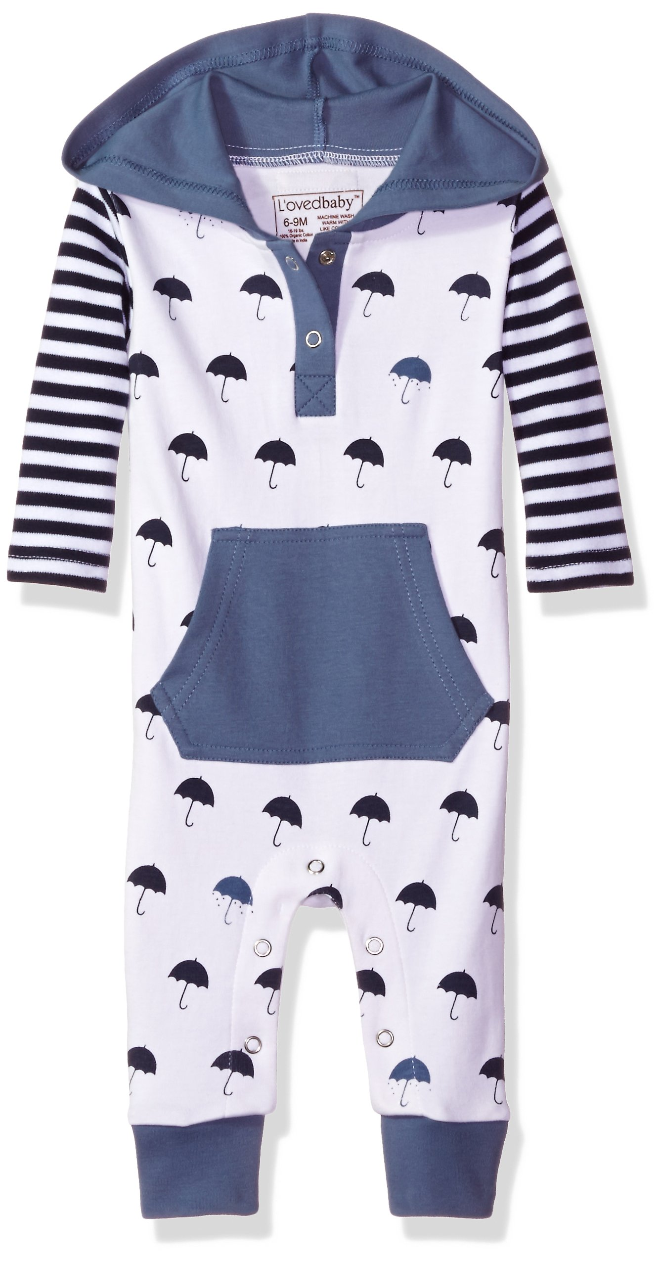 L'ovedbaby Baby Organic Cotton Hooded Long-Sleeve Romper, Slate Umbrella, 18/24m