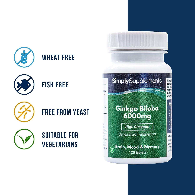 Ginkgo Biloba 6.000mg - ¡Bote para 4 meses! – Apto para veganos – 120 comprimidos – SimplySupplements