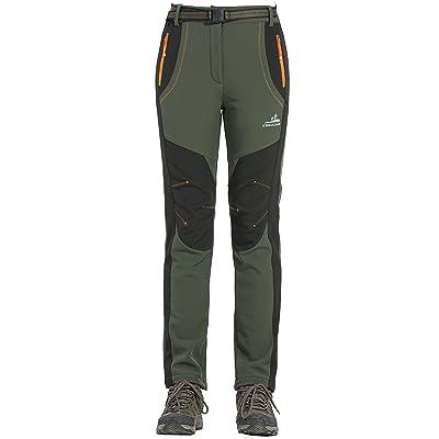 Moncey Womens Waterproof Pants Soft Shell Slim Pants Outdoor Winter Warm Fleece Trousers