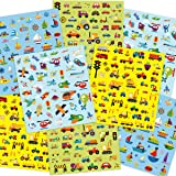 400 Transportation Stickers for Kids 8 Sheets Removable Party Supply Truck Stickers Cars Construction Airplane Ships