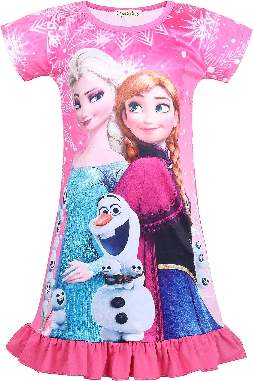 LQSZ Kid Girls Short Sleeve Pajamas Nightgown Dress Nightie Nightdress Sleepwear Casual Dress