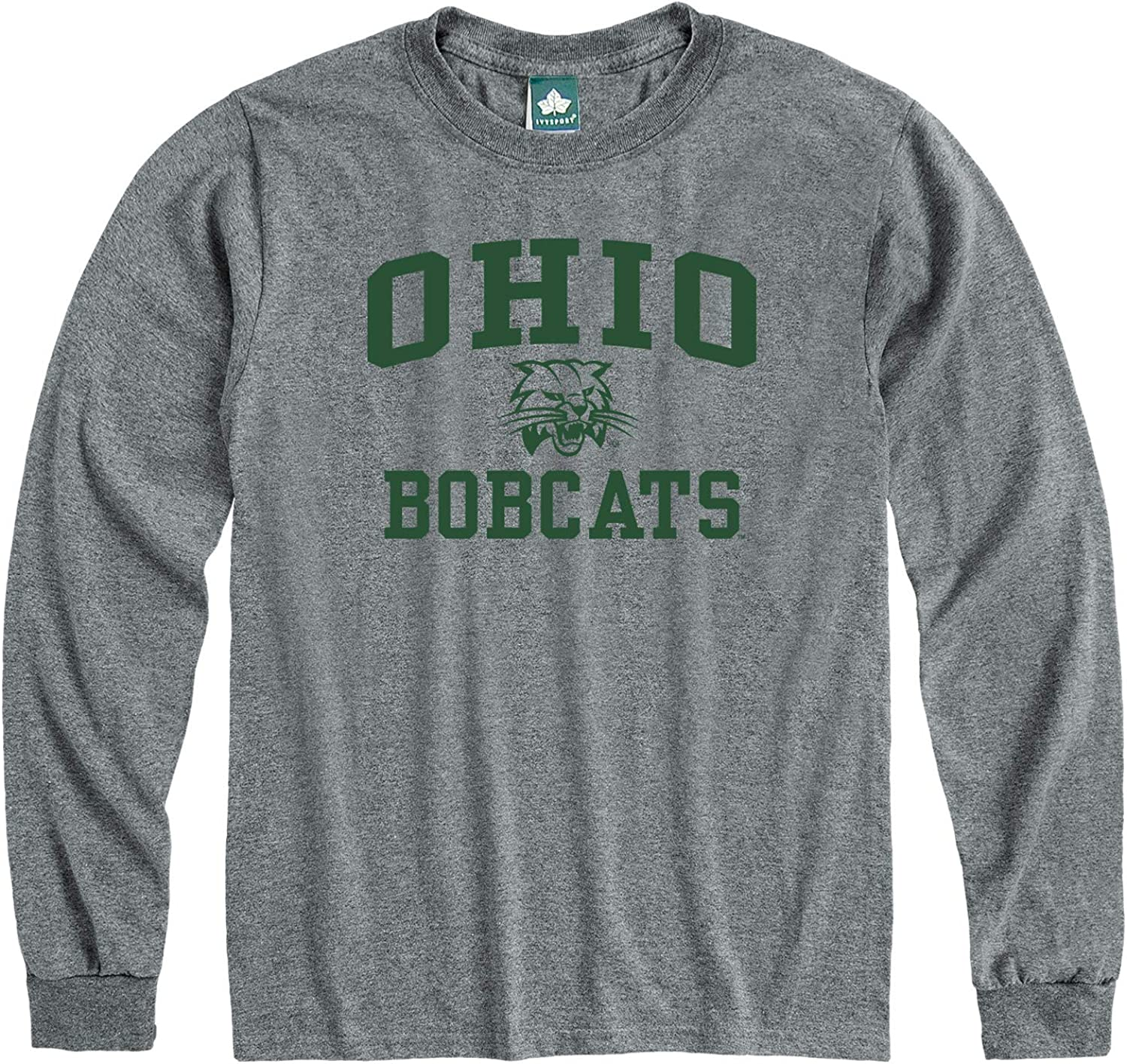 Heritage Logo NCAA Colleges and Universities Grey Ivysport Long Sleeve Cotton Adult T-Shirt