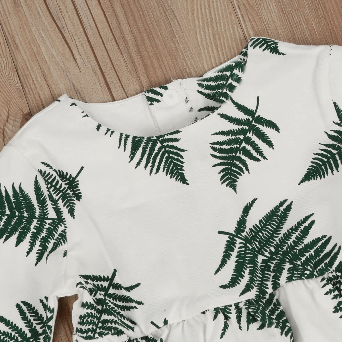 puseky Baby Girls Long Sleeves Leaves Print Casual Birthday Party Dress Clothes