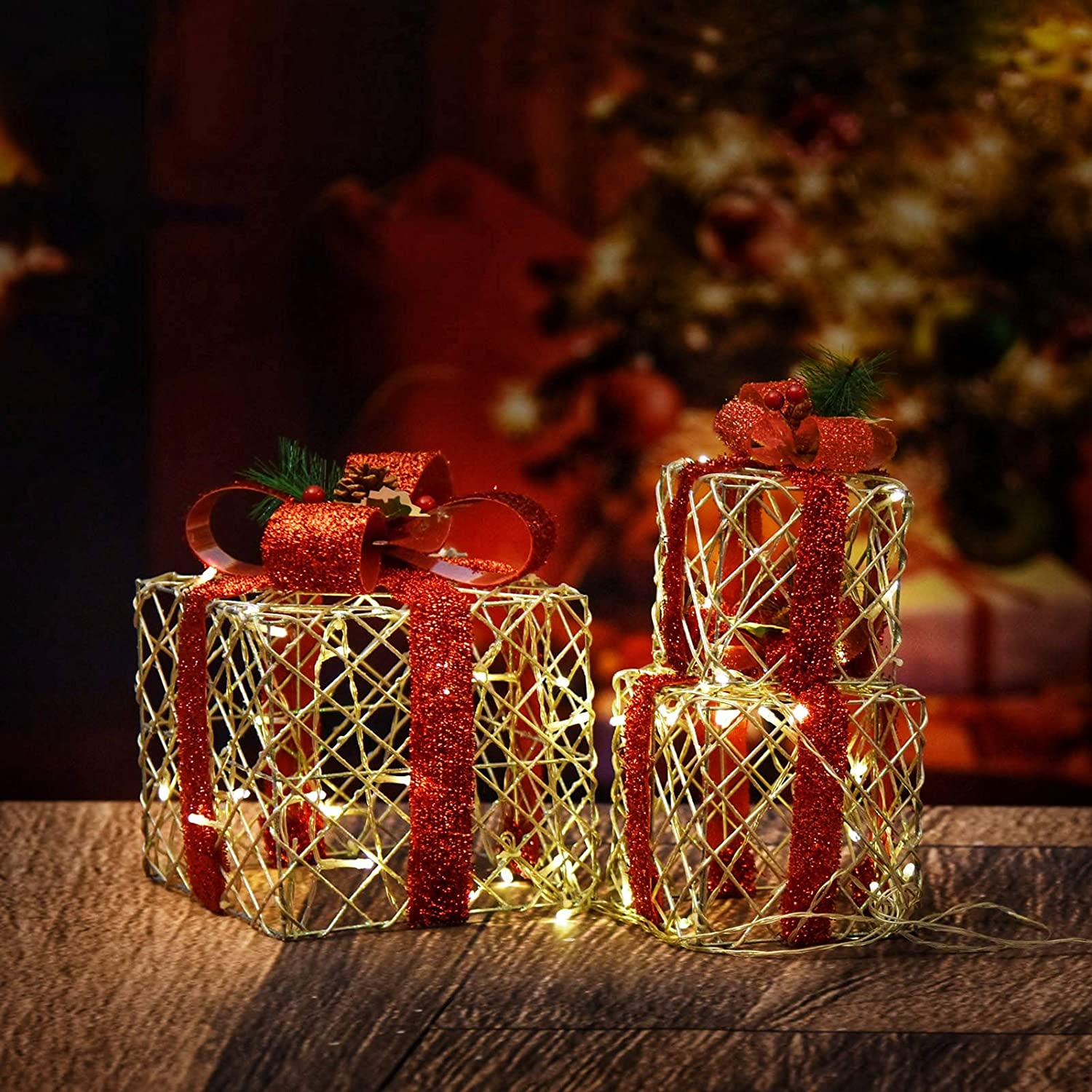 Set of 3 Christmas Lighted Gift Boxes, 48LED Light Up Gift Boxes Waterproof for Indoor Outdoor Christmas Tree Party Decor (Red Bow)