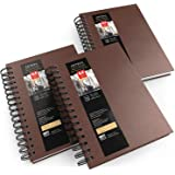 Arteza Watercolor Sketchbooks, 5.5x8.5-inch, 3-Pack, Brown Hardcover Journal, 96 Sheets, 140lb/300gsm Watercolor Paper Pad, S