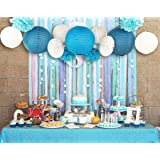 SUNBEAUTY Pack of 13 Blue Beach-Themed Party Paper Crafts Decoration Set for Wedding Birthday Baby Shower