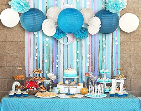 sunbeauty pack of 13 blue beach themed party paper crafts decoration
