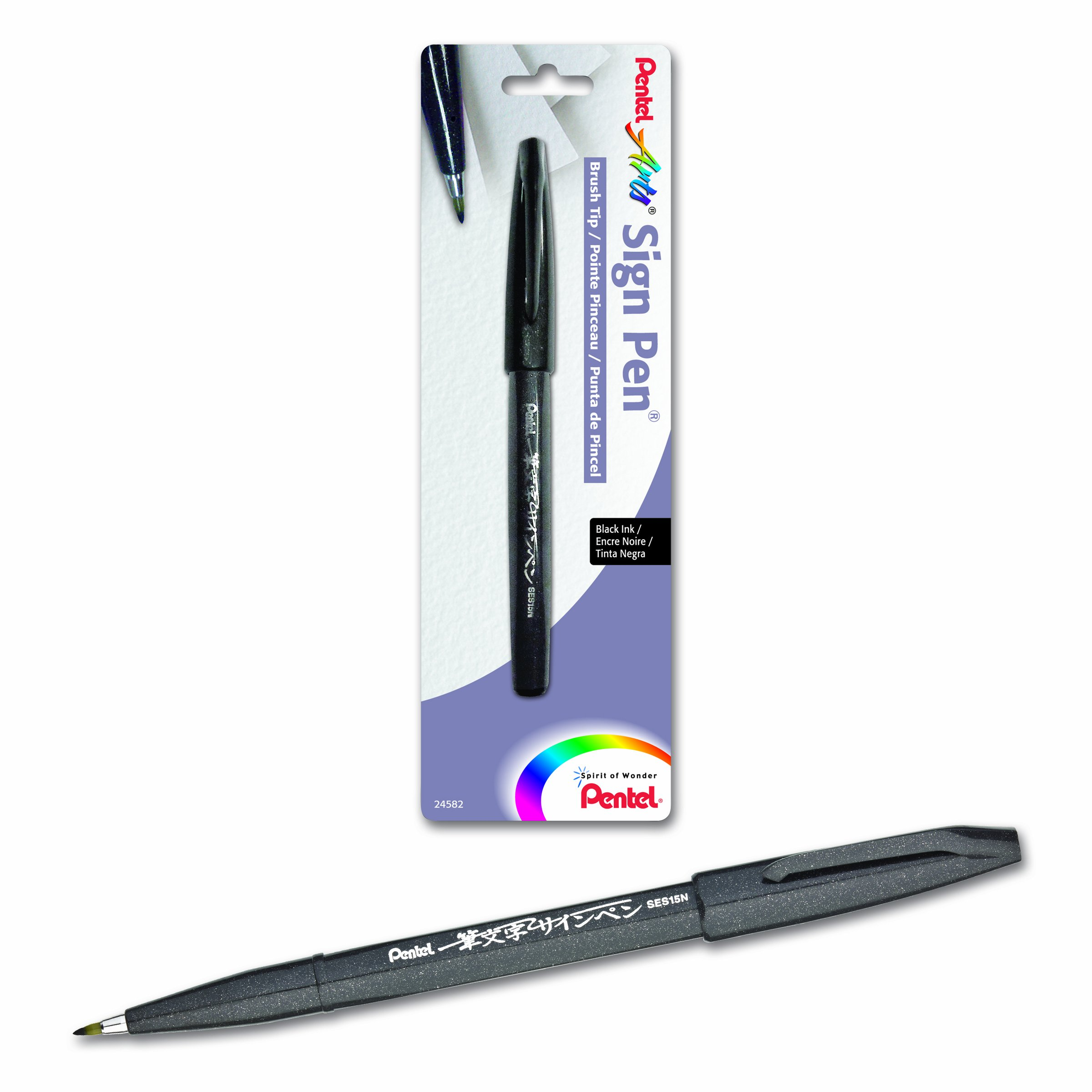 Pentel Arts Sign Pen Touch, Fude Brush Tip, Black Ink - 1..