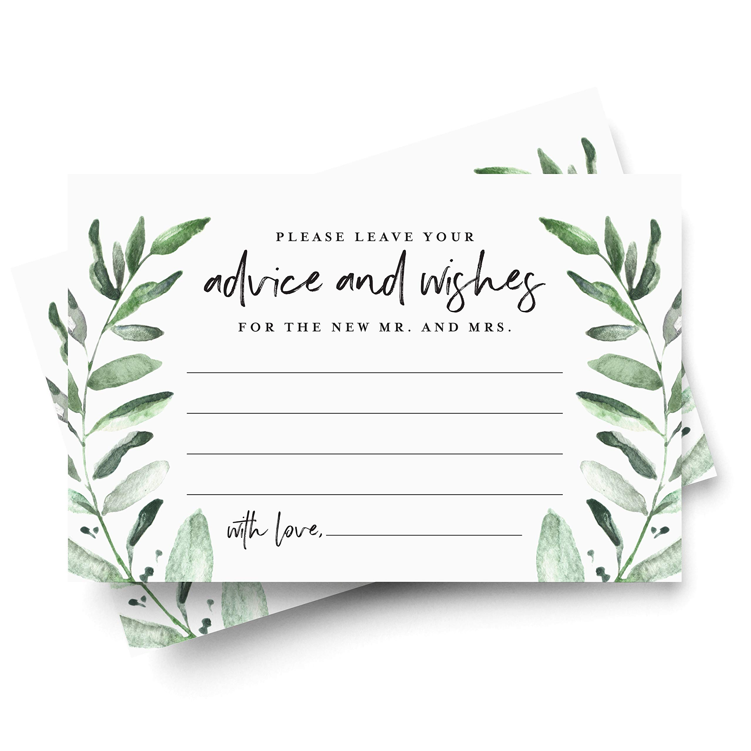 Bliss Paper Boutique Greenery Advice and Wishes Cards for The Bride and Groom, Perfect for: Bridal Shower or Wedding, 4x6 Cards (Pack of 50) from