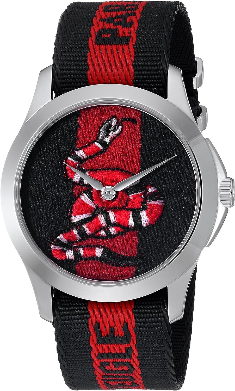 Gucci Reloj Análogo clásico para Unisex de Cuarzo con Correa en Nailon YA126493
