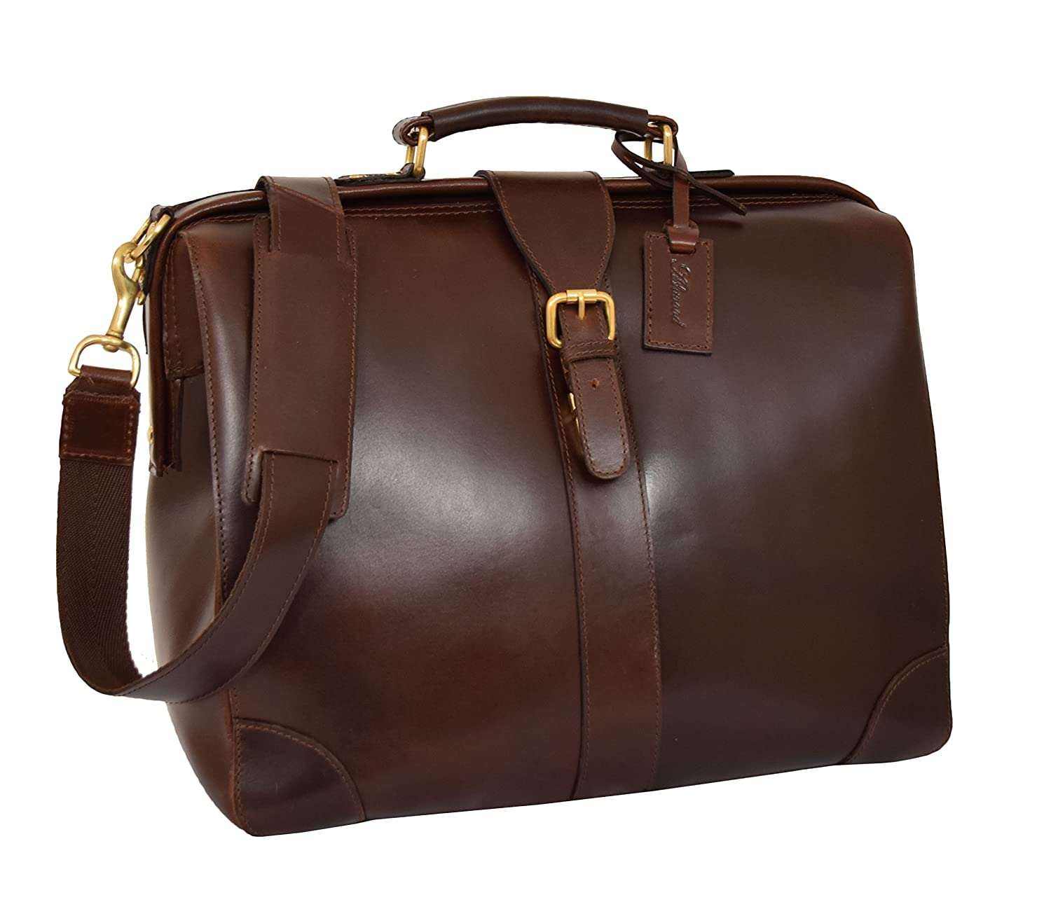 Real Leather Doctors Bag Organiser Case Cross Body Briefcase Cortex Brown Cortex.Brown