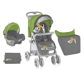 LORELLI BABY STROLLER FOXY SET GREEN&GREY SAFARI car seat mama bag
