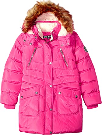 Steve Madden Girls Little Heavyweight Hooded Bubble Jacket Fuschia Purple 4 O/_A1151H