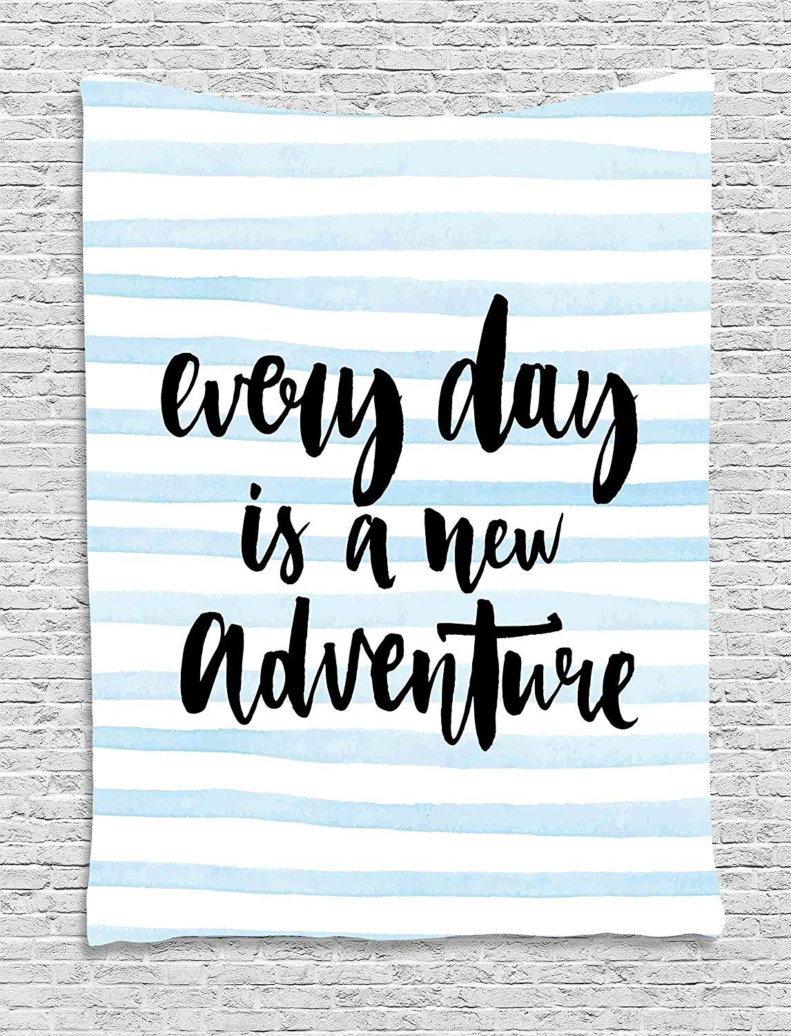 JAMES STRAIN Inspirational Quotes Tapestry, Every Day is a New Adventure Calligraphy Text Watercolor Stripes Print, Wall Hanging for Bedroom Living Room Dorm, 40 W x 60 L Inches, Light Blue