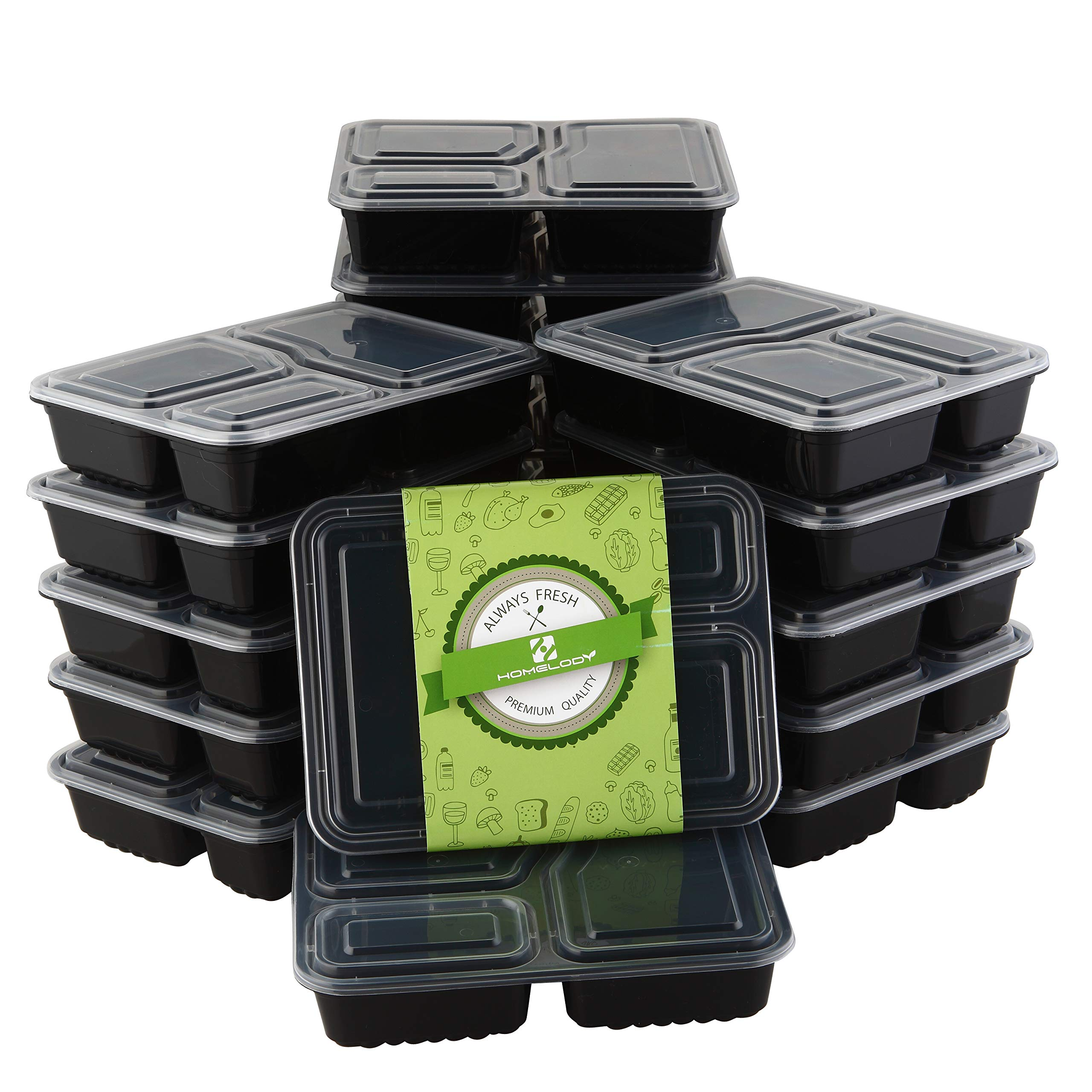 HOMELODY Meal Prep Containers 3 Compartment [20 Pack] Bento Box with Lids,BPA Free Reusable Food Storage Lunch Box,Microwaveable,Dishwasher and Freezer Safe Food Containers for Portion Control(34 oz)