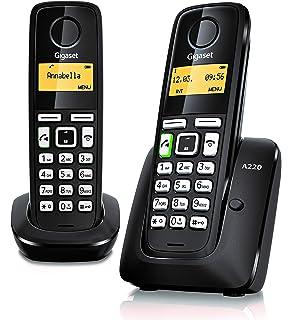 Gigaset SL350, Teléfono (Teléfono DECT, 500 entradas, Servicios de mensajes cortos (SMS), Negro, Plata): Amazon.es: Electrónica