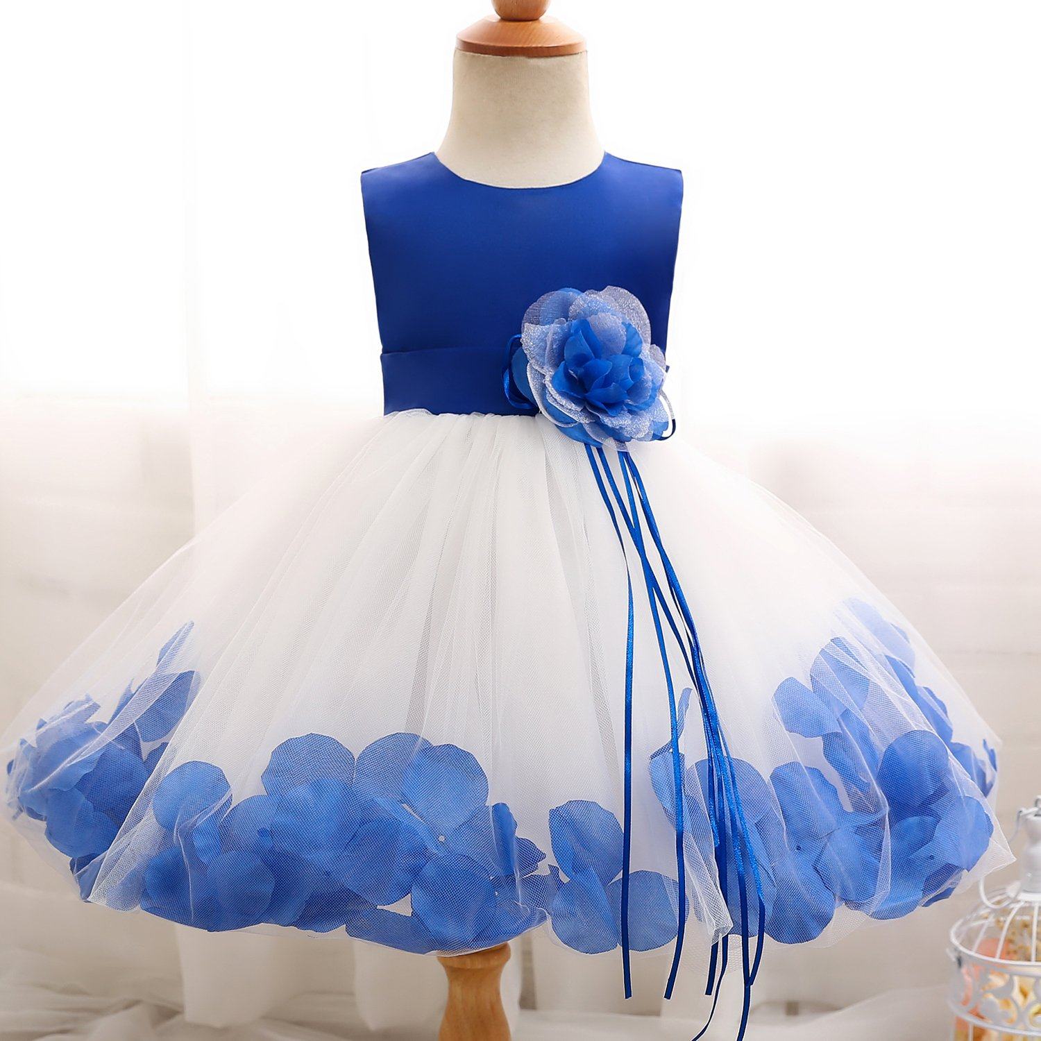b4daf61a559 Amazon.com  NNJXD Girl Tutu Flower Petals Bow Bridal Dress for Toddler Girl   Clothing