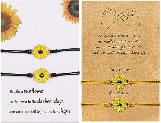 Pinky Pomise Distance Matching Bracelets for Best Friends Couple Family Women Mens Teen Girls Sunflower Boho Bracelet Friendship Jewelry