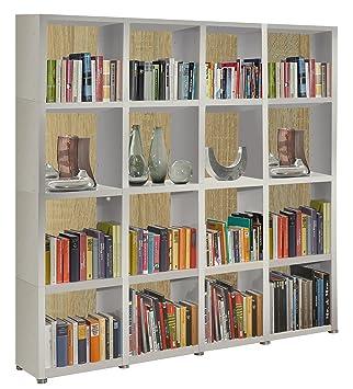Bücherregal Raumteiler READY 44R in Weiß Seidenmatt mit Rückwand in ...