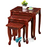 Oregon Modern Mahogany High Gloss Wooden Nest of Tables Side Lamp Table Living Room Furniture