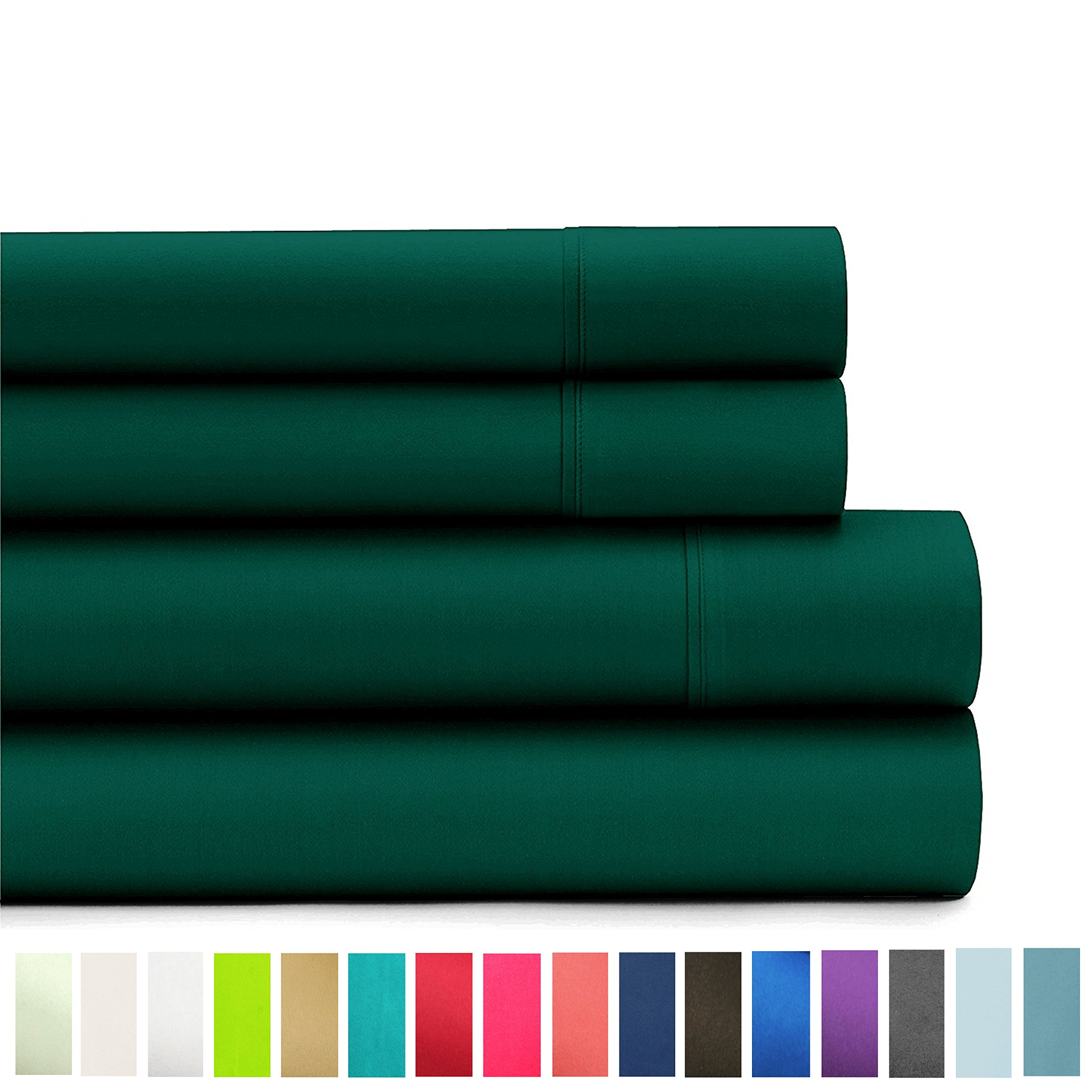 American Home Collection Deluxe 4 Piece Bed Sheet Sets Highest Quality of Brushed Microfiber Wrinkle Resistant Silky Soft Touch (Twin, Forest Green)