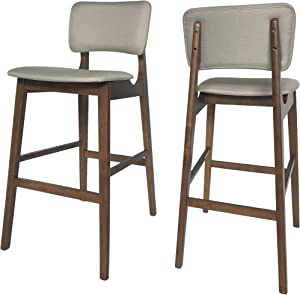 "Christopher Knight Home Luella 42"" Wooden Bar Chair with Fabric Seats (Set of 2), Beige and Walnut Finish"
