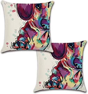 Holiday Depot Set of 2 Pillow Covers 18x18, Vivid Dachshund Cushion Covers Cotton Linen Fabric, Decorative Indoor/Outdoor Throw Pillow Case Set 45x45cm