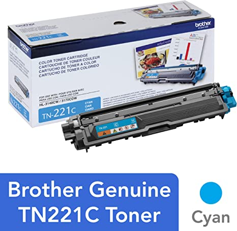 Brother Genuine Standard Yield Toner Cartridge, TN221C, Replacement Cyan Color Toner, Page Yield Up To 1,400 Pages, Amazon Dash Replenishment ...
