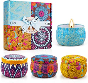 Scented Candles Gifts Set for Women,Aromatherapy Candles for Home Scented,4.4Oz Soy Wax Jar Candle for Brithday Christmas Gifts,Stress Relief-4 Pack